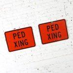Vintage Ped Xing Florescent Orange Metal Traffic Signs