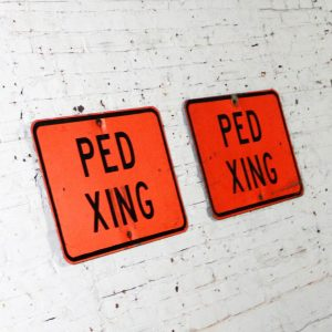 Vintage Ped Xing Florescent Orange Metal Traffic Signs