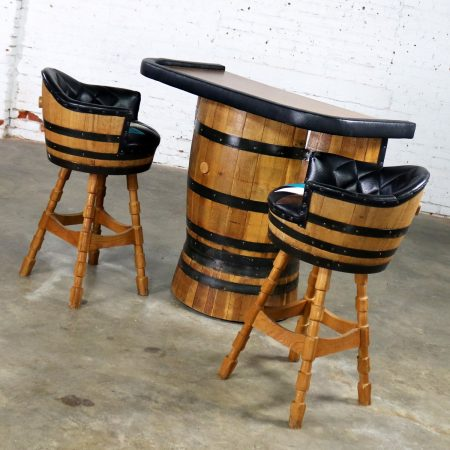 Mid Century Whiskey Barrel Bar and Swivel Bar Stools by Brothers Furniture of Kentucky