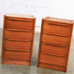Pair Vintage Scandinavian Modern Teak Four Drawer Night Stands from Scandiline