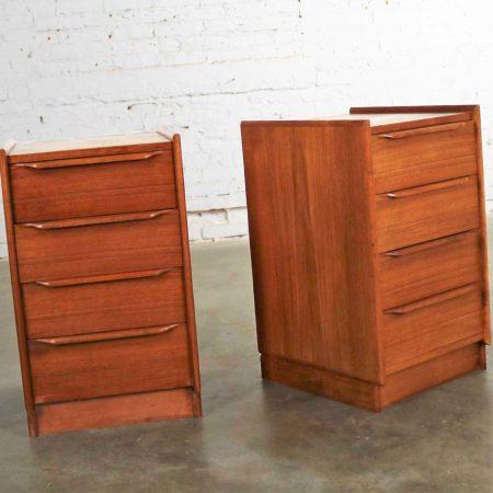 Pair Vintage Scandinavian Modern Teak Four Drawer Night Stands from Scandiline