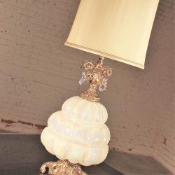 Opalescent Blown Glass Teardrop Crystal Lamp