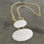 Vintage Napier Chunky Brutalist White Enamel and Gold-Tone Necklace