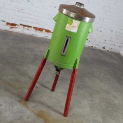 Antique Primitive and Rustic Gravity Cream Separator Can in Green on Red Legs