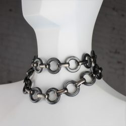 Vintage YSL Yves Saint Laurent Lucite and Metal Chunky Link Necklace