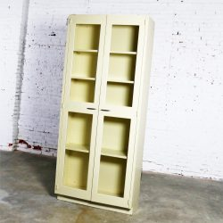 Industrial Metal Display Cabinet or Bookcase with Glass Doors