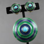 Vintage Mid-Century Mod Florenza Concentric Circle Enamel Brooch and Earring Set