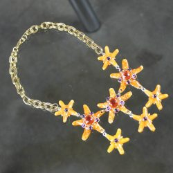 Vintage Gem-Craft Bejeweled Starfish Bib Necklace, Signed CRAFT ©