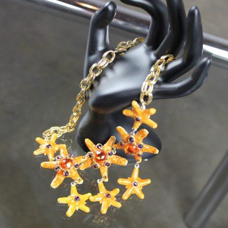 Vintage Gem-Craft Bejeweled Starfish Bib Necklace, Signed CRAFT ©
