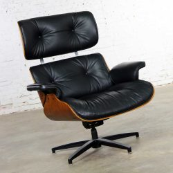Mid Century Modern Selig Black Vinyl and Walnut Lounge Chair Style Eames Herman Miller
