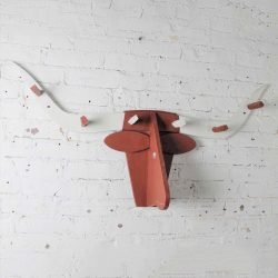 Folkart Longhorn Steer Head Coat Rack Red and White Vintage Fun