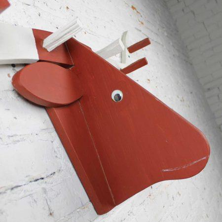 Folkart Longhorn Steer Head Coat Rack Red and White Vintage Fun