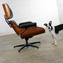 Mid Century Modern Selig Black Vinyl and Walnut Lounge Chair Style Eames Herman Miller