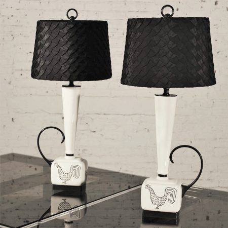 Mid Century Modern Black and White Ceramic Lamps w/ Rooster Design, Pair