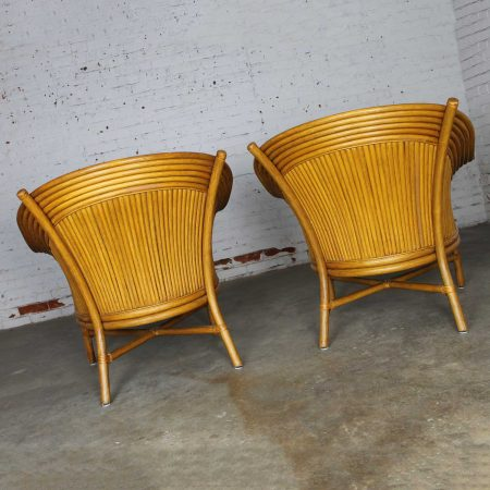 Pair of Rattan Club Chairs with Fan Backs Vintage in the Style of McGuire