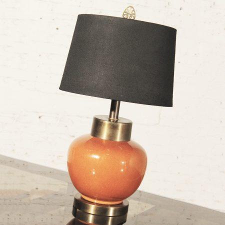 Mid Century Asian Burnt Umber Ceramic Lamp with Black Shade