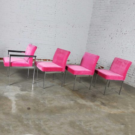Hot Pink and Chrome Dining Chairs by American of Martinsville Vintage Mid Century Modern