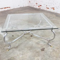 Vintage Hollywood Regency Square Glass Top Cocktail Table w/Aluminum Base & Brass Hoof Feet