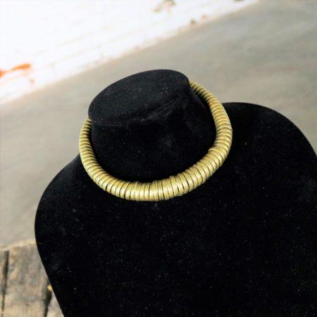 Vintage 1970s Brass Coil Choker Necklace and Cuff Bracelet