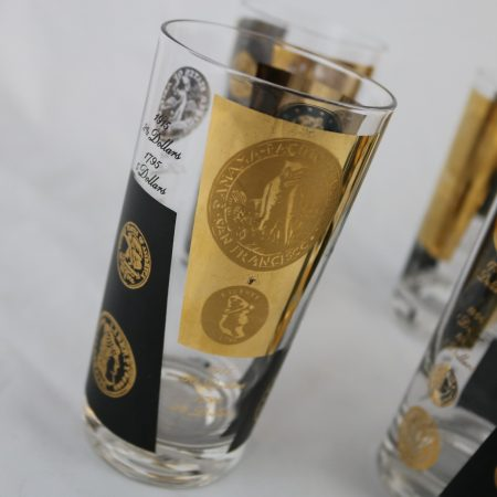 Black and 22-Karat Gold Coin Design Highball Glasses by Cera Mid-Century Modern Set of Six