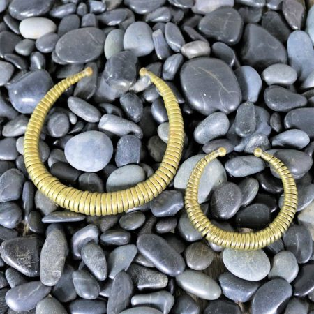 Vintage 1970s Brass Coil Choker Necklace and Cuff Bracelet