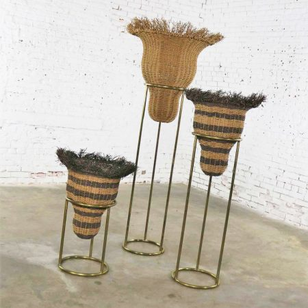 Round Brass Stands with Extra Large Basket Inserts for Plants or Flowers, Set of 3