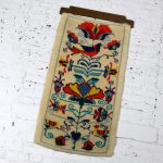 Scandinavian Hooked Rug Wall Hanging Vintage Mid Century