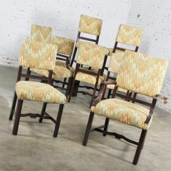 HOLD – Vintage Set of 10 Georgian Revival Chippendale Style Upholstered Dining Chairs