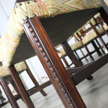 Vintage Set of 10 Georgian Revival Chippendale Style Upholstered Dining Chairs