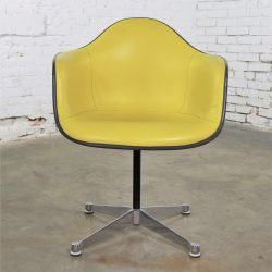 Eames PAC Yellow Padded Swivel Armchair w/Gray Fiberglass Shell & Aluminum Base