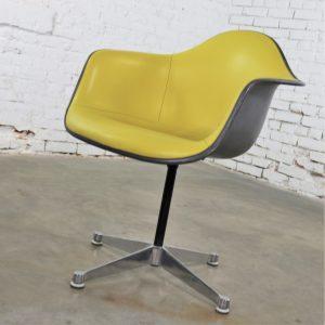 Eames PAC Yellow Padded Swivel Armchair w/Gray Fiberglass Shell & Aluminum Base