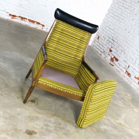 Mid Century Modern Horn Style Armchair with Green Gold & Black Horizontal Striped Upholstery
