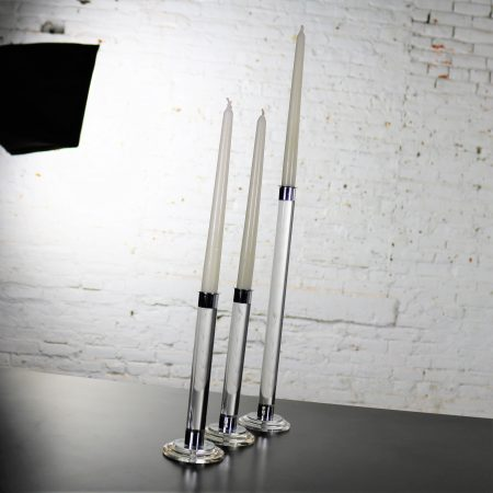 Trio of Modern Lucite Acrylic and Chrome Candlesticks 20th Century