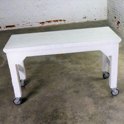 Primitive Industrial Farmhouse Style White Painted Rolling Work Table Island