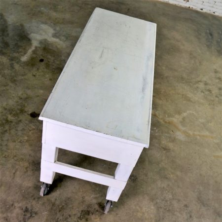 Primitive Industrial Farmhouse Style White Painted Rolling Work