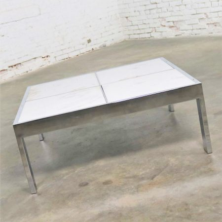 Modern Chrome and White Marble Coffee Cocktail Table Attributed to The Pace Collection