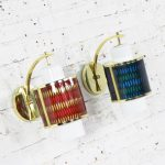 Pair Moe Lighting Honeycomb Wall Sconces in Emerald Blue & Tangerine Gold
