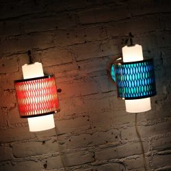 Two Moe Lighting Honeycomb Wall Sconces in Emerald Blue & Tangerine Gold