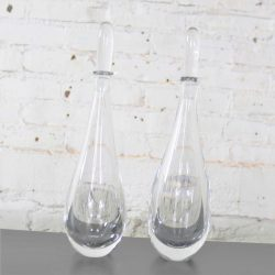 Pair of Clear Glass Orrefors Decanters by Vicke Lindstrand Mid Century Modern