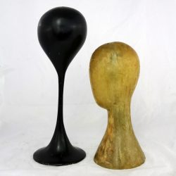 Pair Hat or Wig Display Head Stands Fiberglass Mid Century Modern Tulip Base