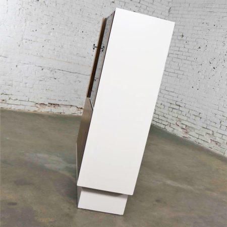 Mid Century Modern Scandinavian Style China Display Cabinet w/ White Case & Teak Front