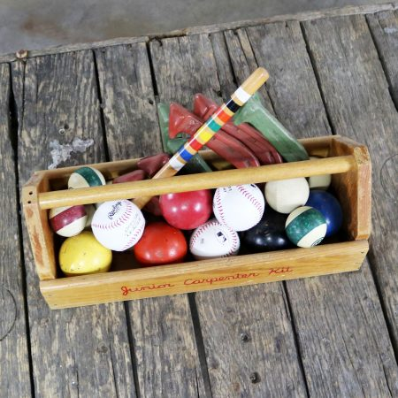 Object d 'Art Centerpiece Junior Carpenter Kit Tool Box with Balls and Horseshoes
