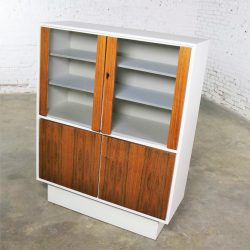 Mid Century Modern Scandinavian Style China Display Cabinet w/ White Case & Teak Front
