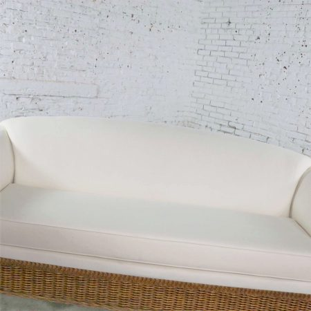 Vintage Modern Wicker Sofa Manner Michael Taylor in New White Canvas