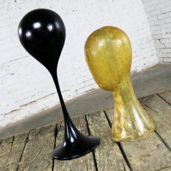Pair Hat or Wig Display Head Stands Fiberglass Mid Century Modern Tulip Base