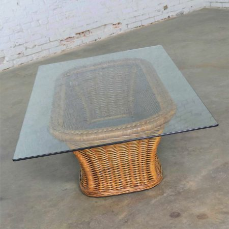 Vintage Organic Modern Woven Wicker Rattan Coffee Table with Rectangular Glass Top