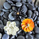 Vintage Trio 1960's Black White Orange Enamel Flower Brooches One by Crown Trifari