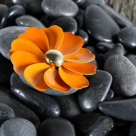 Vintage Trio 1960's Black White Orange Enamel Flower Brooches One by Crown Trifari