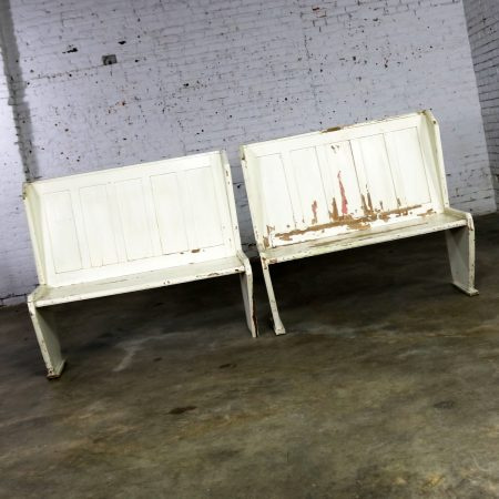 Rustic Arts and Crafts Black and White Diner Booth Banquette Table and Benches