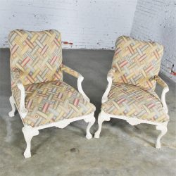 Whitewashed Louis XV Style Arm Chairs in Contemporary Fabric Circa 1980